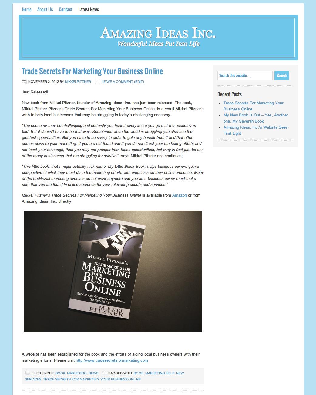 Amazing Ideas Inc Website early Nov 2012