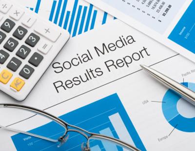 Close up of a social media results report